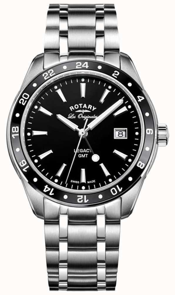 05e7532c1074 Rotary Mens Legacy Gmt Stainless Steel Black Dial GB90172 04 - First ...