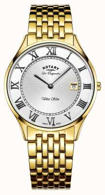 Rotary Mens Ultra Slim Gold Tone Stainless Steel White Dial GB90803/01
