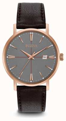 Bulova Mens Aerojet Brown Leather Strap Grey Dial 97B154