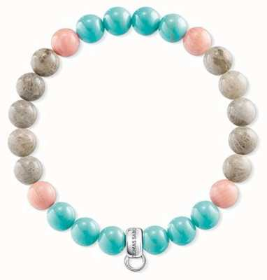 Thomas Sabo Pink Turquoise Brown Sterling Silver Charm Bracelet X0216-944-7-L16,5