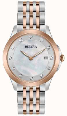 Bulova Womans Rose Plated Two Tone Diamond 98S162