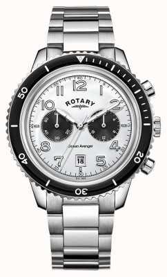 Rotary Mens Ocean Avenger Chronograph White Dial GB05021/18