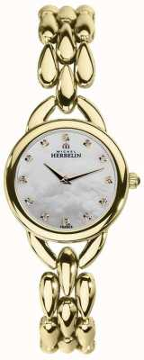 Michel Herbelin Womans Waterfall Mother Of Pearl Cubic Zirconia Dial 17475/BP59