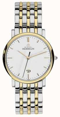 Michel Herbelin Mens Two Tone Stainless Steel Silver Gold Strap Baton Dial 12543/BT11