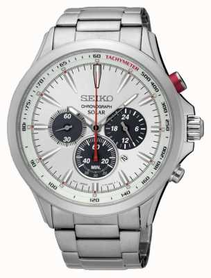 Seiko Mens Solar Chronograph Stainless Steel White Dial SSC491P1