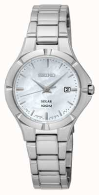 Seiko Womens Solar Stainless Steel Mother Of Pearl Dial SUT293P1