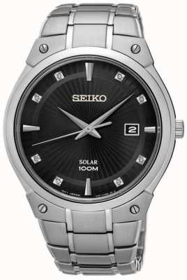 Seiko Mens Solar Stainless Steel Black Dial Diamond Dial SNE429P9