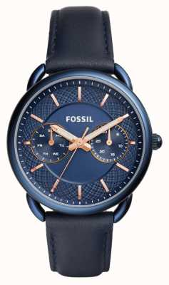 Fossil Womens Blue PVD Plated Case Blue Leather Strap ES4092