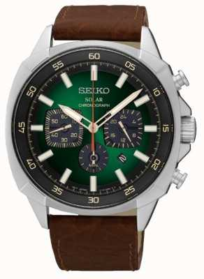 Seiko Mens Solar Powered Reflective Green Dial Leather Strap SSC513P9