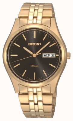 Seiko Mens Solar Gold Plated Day Date SNE044P9