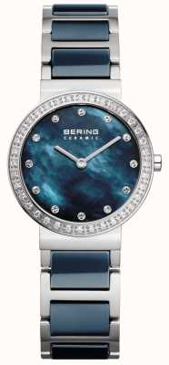 Bering Womans Ceramic Blue Stainless Steel 10729-707