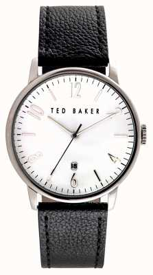 Ted Baker Mens Stainless Steel Case White Dial Leather Strap TE10030650
