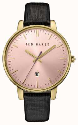 Ted Baker Womans Black Leather Strap Pink Dial TE10030740
