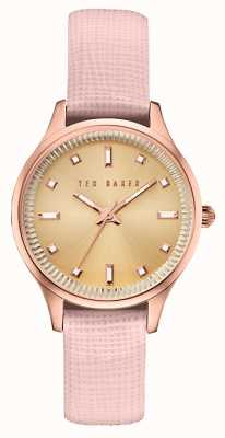 Ted Baker Womans Rose Gold Case Pink Leather Strap TE10030743