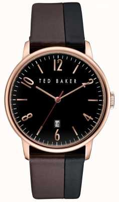 Ted Baker Mens Rose Gold Case, two-tone Leather Strap TE10030756