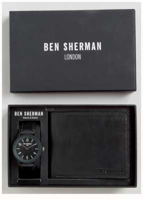 Ben Sherman Mens Black Wallet Gift Set WB050BBG