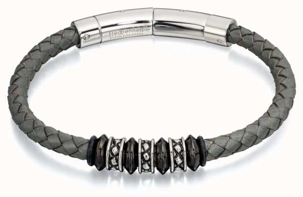 Fred Bennett Grey Leather Stianless Steel Bead Bracelet B4728
