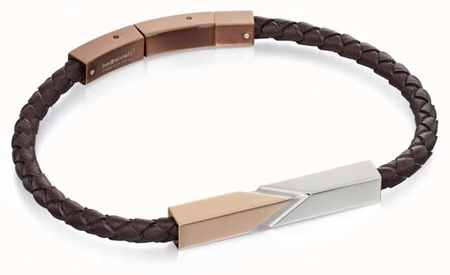 Fred Bennett Stainless Steel and Rose Brown Leather Bracelet B4807