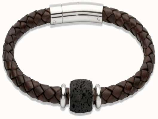 Unique Gents Leather Steel Bracelet B248ADB/21CM