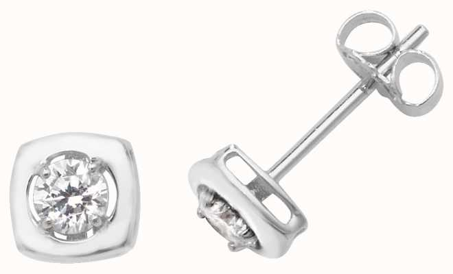 James Moore TH 9k White Gold Cubic Zirconia Square Stud Earrings ES471W