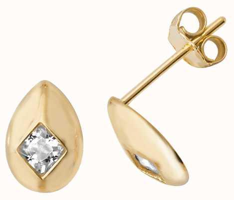 Treasure House 9k Yellow Gold Cubic Zirconia Oval Shaped Stud Earrings ES484