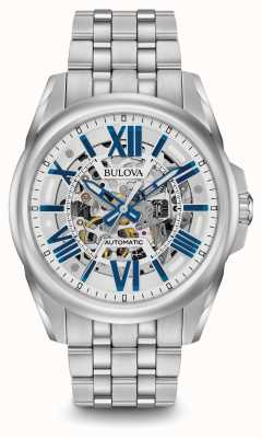 Bulova Mens Automatic Stainless Steel Silver With Blue Markers 96A187