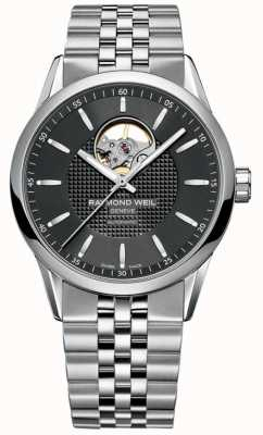 Raymond Weil Mens Automatic Black Dial Visible Balance Wheel Silver 2710-ST-20021