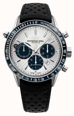 Raymond Weil Mens Automatic White Chronograph Black Leather Strap 7740-SC3-65521