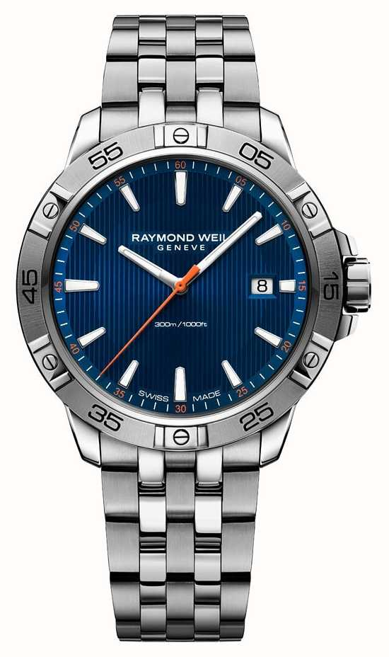 8a3b84afa97 Raymond Weil Mens Tango 41mm Stainless Steel Blue Index Dial 8160 ...