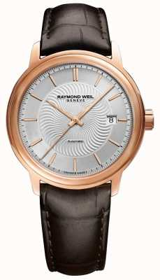 Raymond Weil Mens Maestro Automatic Rose Plated Exhibition Case Leather 2237-PC5-65001
