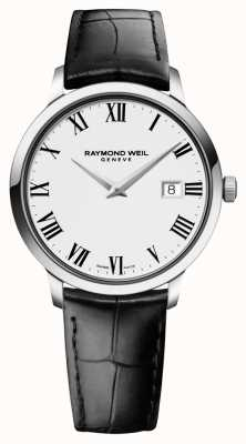 Raymond Weil Mens Slim White Black Leather 5488-STC-00300