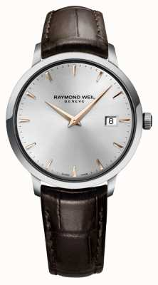 Raymond Weil Mens Slim Silver Black Leather Strap 5488-SL5-65001