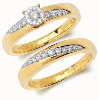 Treasure House 9k Yellow Gold Diamond Brilliant Bridal Ring Set RD111