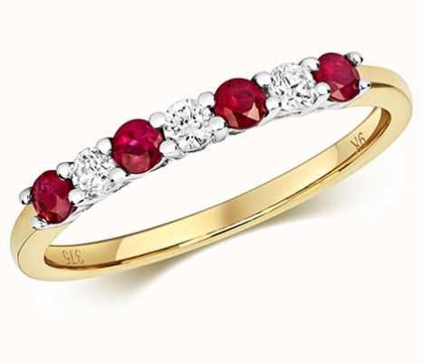 Treasure House 9k Yellow Gold Diamond and Ruby Claw Set Eternity Ring RD438R