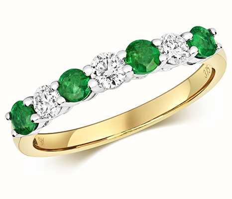 Treasure House 9k Yellow Gold Diamond and Emerald Claw Set Eternity Ring RD439E