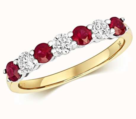 Treasure House 9k Yellow Gold Diamond and Ruby Claw Set Eternity Ring RD439R