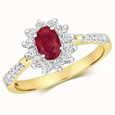 Treasure House 9k Yellow Gold Diamond Ruby Oval Cluster Ring RD502R