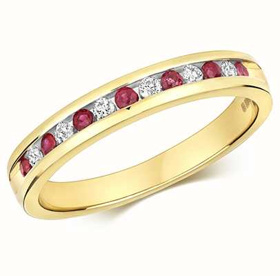 Treasure House 9k Yellow Gold Half Diamond Ruby Eternity Ring RD582R