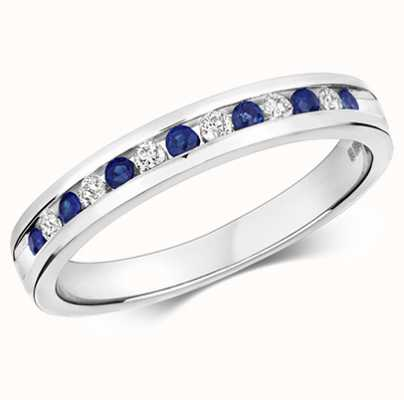 Treasure House 9ct White Gold Diamond Sapphire Half Eternity Ring RD582WS