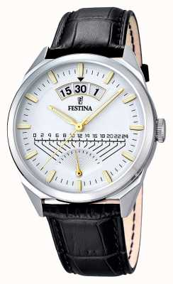 Festina Mens Black Leather Strap Silver Dial F16873/2