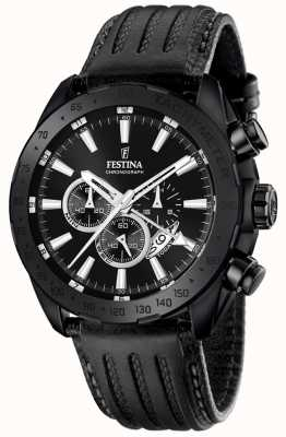 Festina Mens Black Leather Strap Black Dial F16901/1