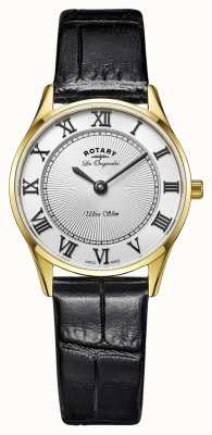 Rotary DISPLAY MODEL - Ladies Gold Plated Black Leather Strap LS90803/01