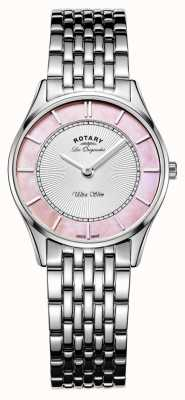 Rotary Ladies Stainless Steel Bracelet Pink Mother Of Pearl Dial LB90800/07