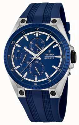 Festina Festina Mens Multi-Function Blue Rubber Strap F16834/2