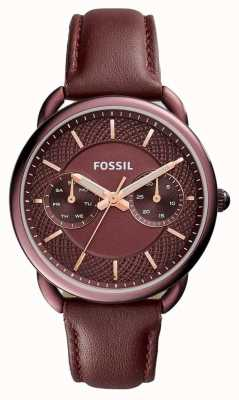 Fossil Ladies Tailor Red Wine Leather Strap ES4121