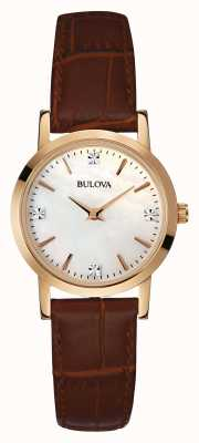 Bulova Ladies Gold Watch Brown Leather Strap 97S105