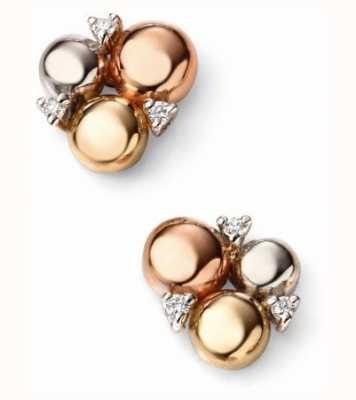 Elements Gold 9ct Rose Yellow White Gold Diamond Circle Stud Earrings GE2039