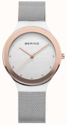 Bering Ladies | Silver Stainless Steel Mesh Strap | White/Gold Dial 12934-060