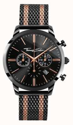 Thomas Sabo Mens Rebel Spirit Chronograph Rose Gold Black WA0289-285-203-42