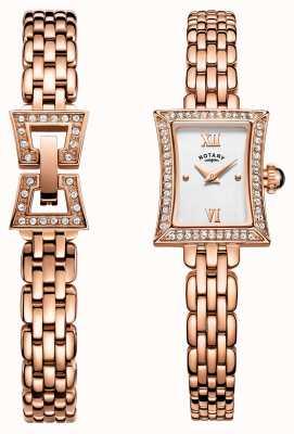 Rotary Womens Rose Gold PVD Plated Bracelet Set LB05059/02/SET